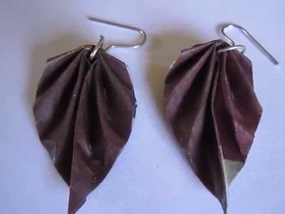 Handmade Jewelry - Origami Paper Leaf Earrings
