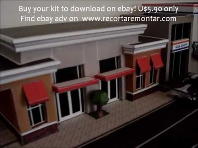 Papercraft Paper model mini town city diorama for Hot Wheels or HO scale