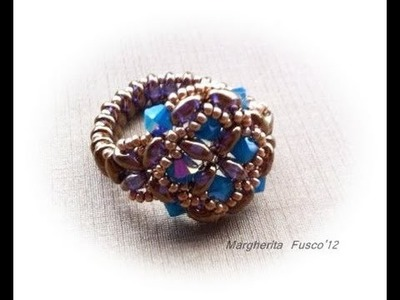 "Tutorial come fare un anello ""Agrippina"" piu' fascetta per anello velocissima (beads tutorial)"