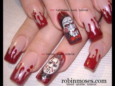 3 Nail Art Tutorials | DIY Halloween Nails |  Easy Blood Splatter Design