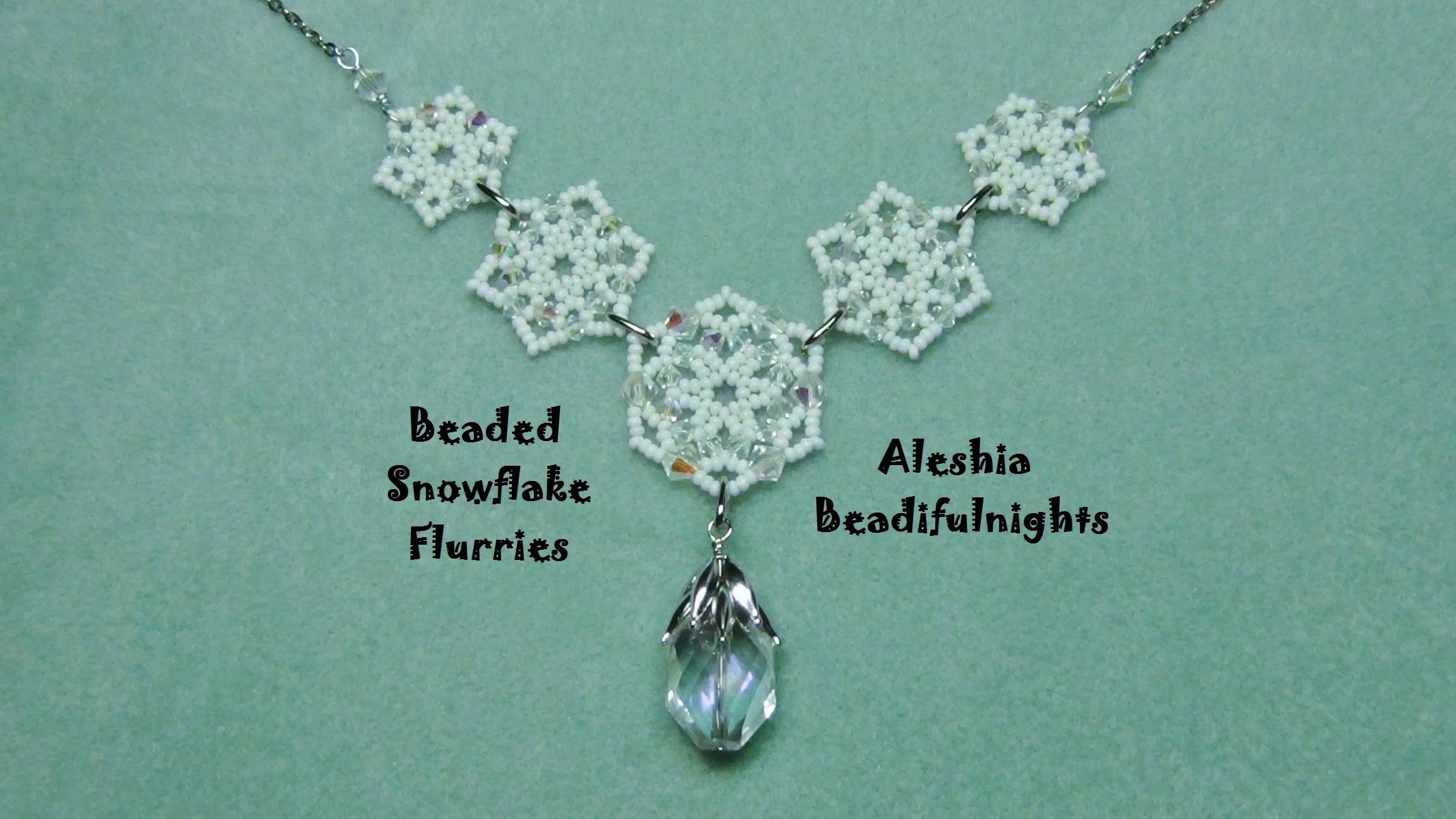 Beaded Snowflake Flurries Necklace-Bracelet-Earrings