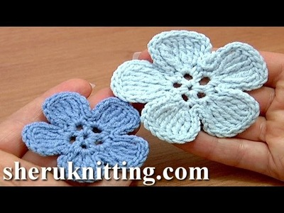 Crochet 5-Petal Flat Flower of Tall Complex Stitches Tutorial 49 Part 2 of 2 Einfache Blume häkeln