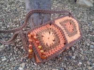 #Crochet 6 Granny Square Crochet Purse Handbag #TUTORIAL