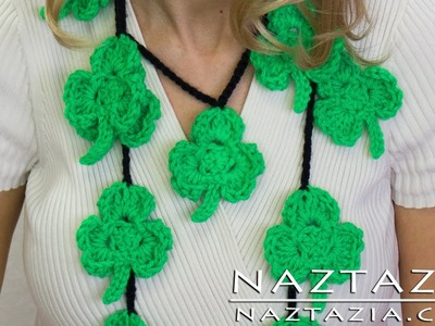 DIY Learn How to Crochet Irish Shamrock Clover Applique Necklace Scarf St Patricks Day