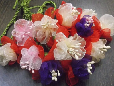 D.I.Y. Organza Fuchsia Flower Slings. Charms Tutorial
