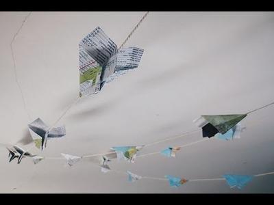 DIY : Paper Airplane Map Garland