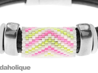 How to Add a Peyote Stitch Bead to Regaliz® Leather Alternative Bracelets