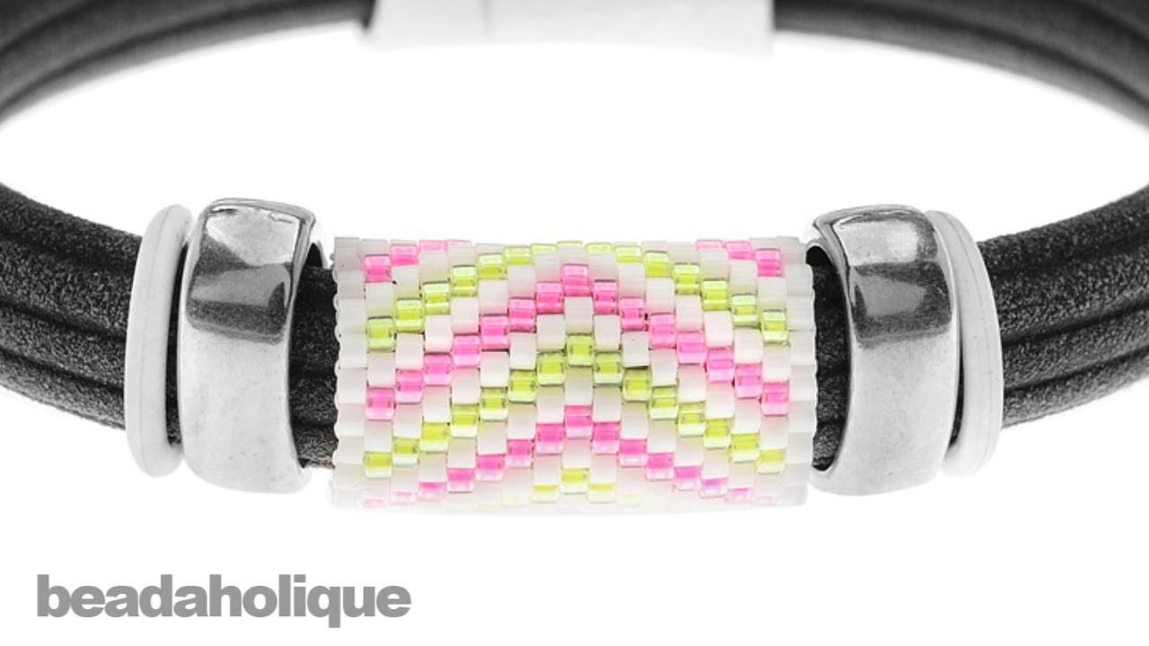How to Add a Peyote Stitch Bead to Regaliz® Leather Alternative Bracelets