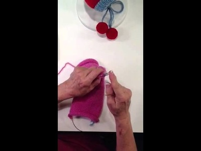 How to do a 3 needle bind off in knitting shown on the Piper's Pixie Hat