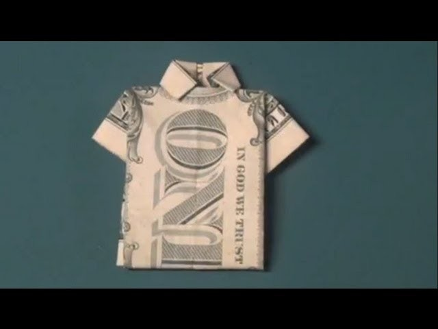How To Make a Dollar Bill T-Shirt Origami - Fun Tutorial - Shirt with Collar