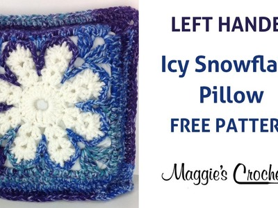 Icy Snowflake Pillow Free Crochet Pattern - Left Handed