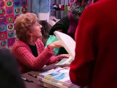 Margaret Hubert at the Lion Brand Booth at Vogue Knitting Live!