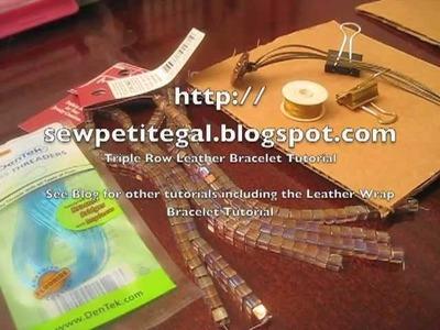 Triple Row Beaded Leather Bracelet DIY Tutorial