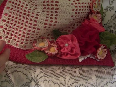 Velma's Tag Swap July 2012 My Tag & Filet Crochet Drawstring Bag Crochet Flower Fabric Flowers
