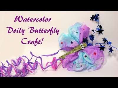 Watercolor doily butterfly craft