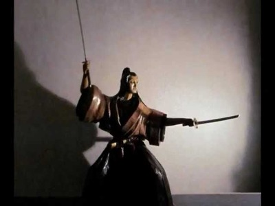 Amazing paper sculpture of Miyamoto Musashi
