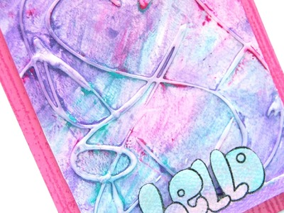 Emboss resist with glue and Faber Castell Gelatos (Design Memory Craft)