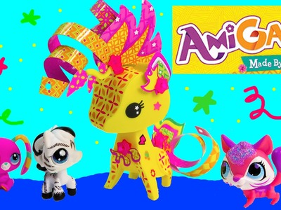 AmiGami Paper Pop Out Styling Craft Giraffe Wild Animal Pet Playset Review Cookieswirlc Mattel
