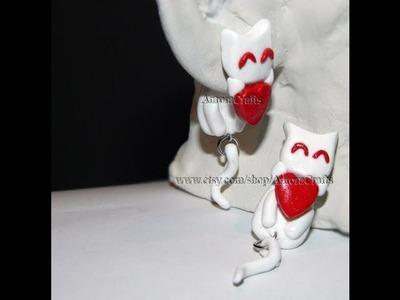 DIY Dangling Kitty Earrings Polymer Clay Tutorial