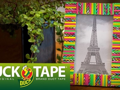 Duck Tape Crafts: How to Make a Straw Picture Frame with LaurDIY