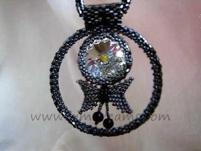 Handmade jewelry, Pendant Black Angel, beads embroidery pendant, Swarovsky Crystal