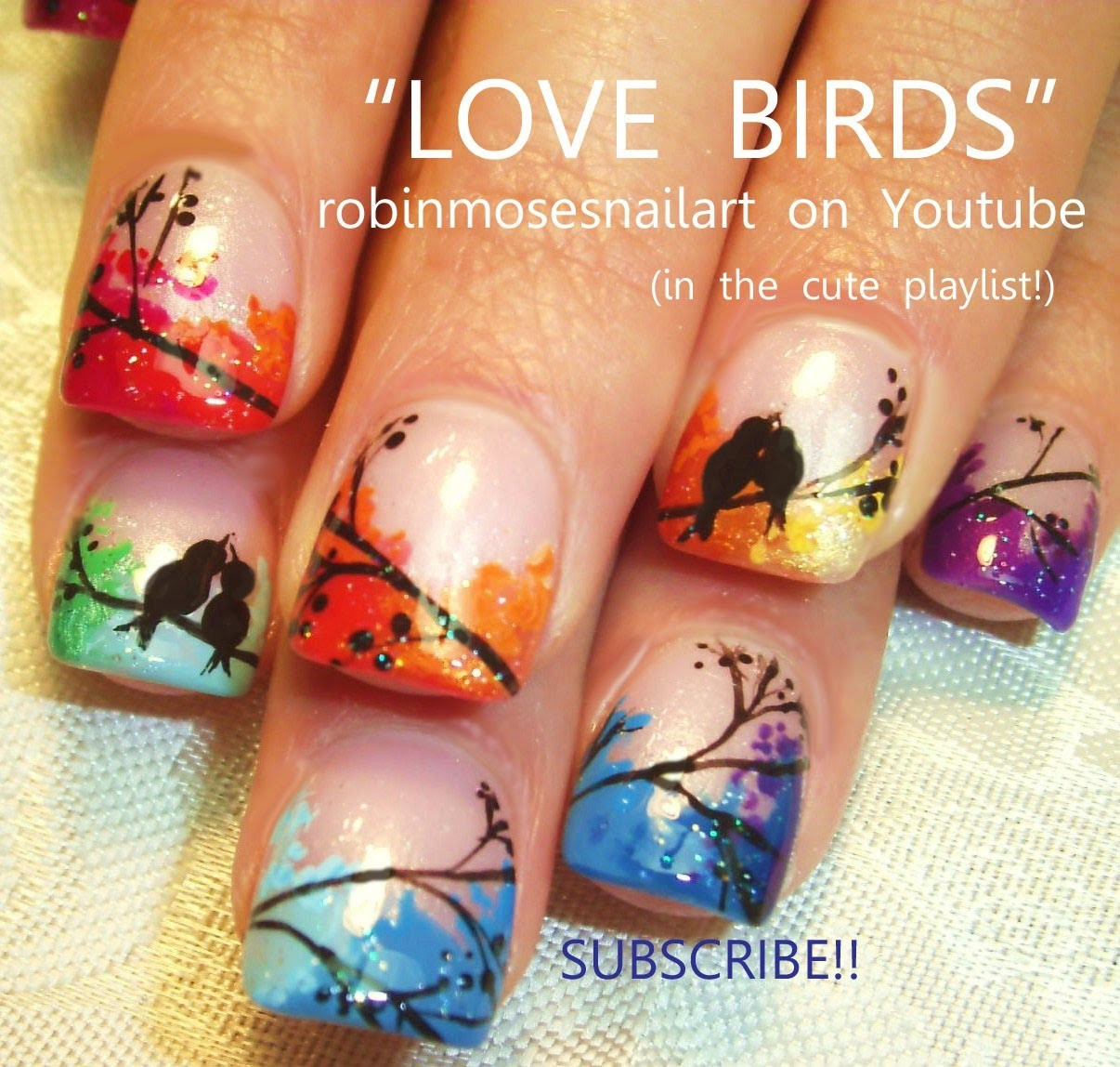 Nail Art Tutorial | Easy Love Bird Nails | Rainbow Lovebird Nail Design