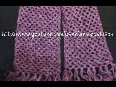 Bufanda sencilla en cadenetas y medios puntos (punto de red) -Tutorial de tejido crochet