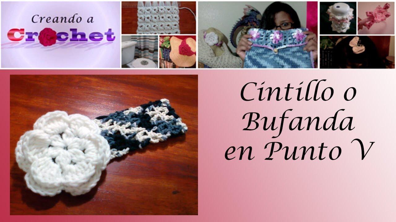 Cintillo o bufanda (punto v) -Tutorial de tejido crochet