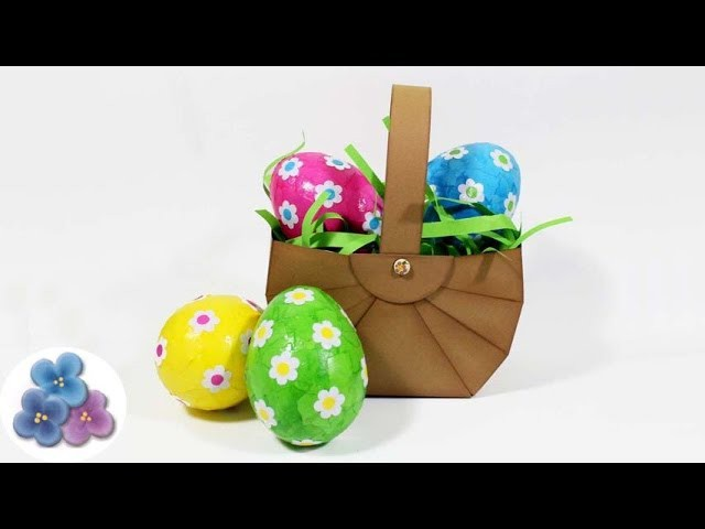 Como hacer Canastas para Huevos de Pascua DIY Scrapbook Manualidades con Papel Pintura Facil