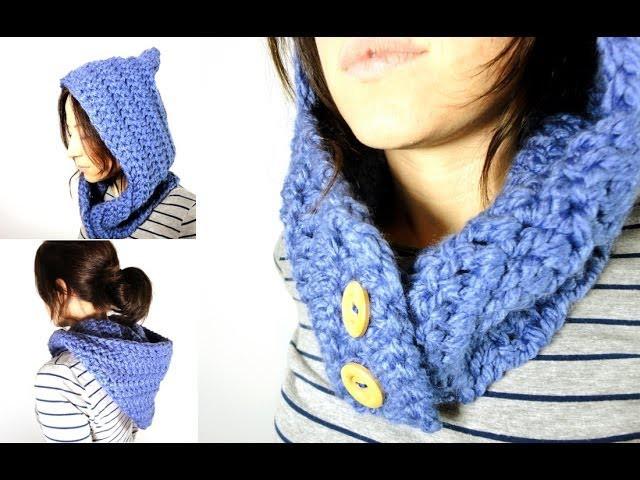 Cómo tejer un cuello - capucha de lana a ganchillo. crochet