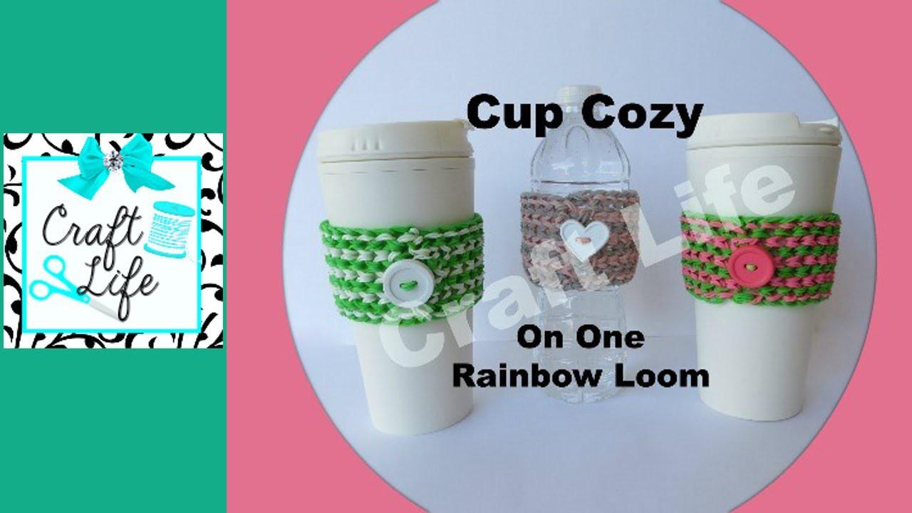 Craft Life Cup Cozy Tutorial on One Rainbow Loom