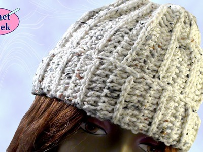 Crochet Geek - Ribbed Crochet Beanie Cap Stocking Hat March 13 Video