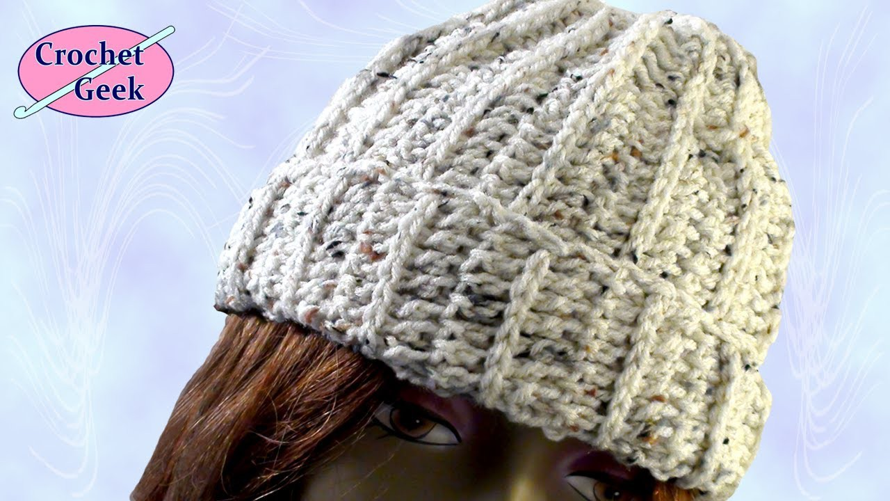 Crochet Geek - Ribbed Crochet Beanie Cap Stocking Hat March 13 Video