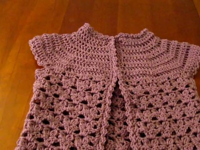Crochet girls short sleeve cardigan coverup sweater