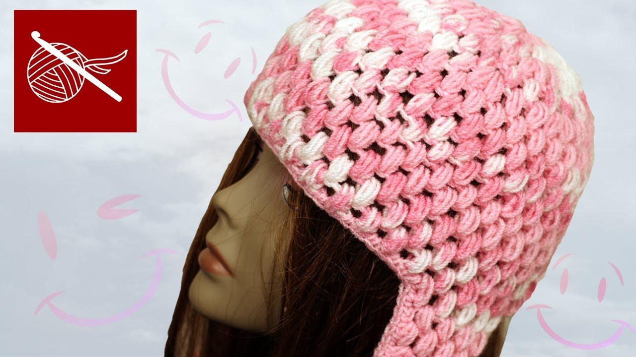 Crochet Puff Stitch Cap with Ear Flaps Crochet Geek
