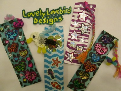 DIY Crafts Bookmark with Scrapbook Paper, Stickers, Glitter Glue with Rainbow Loom Charms.