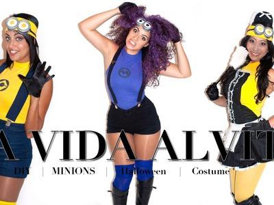 DIY Hot Minion Halloween Costume Tutorial, No Sewing!!! yellow minion, purple minion and maid minion
