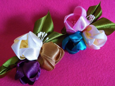 D.I.Y. Kanzashi inspired Satin Tulip Flower Hair Clips - Tutorial