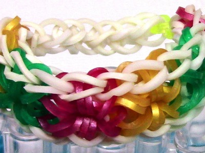 DIY Loom Bands Starburst Bracelet Tutorial - Make Easy Rainbow Bands Bracelet