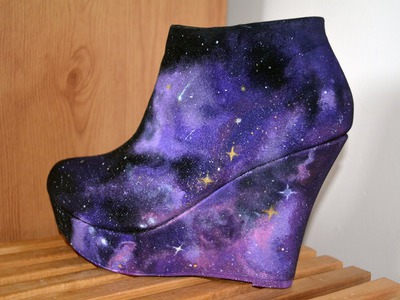 DIY Nebula Galaxy Space Wedges Shoes Speed Video