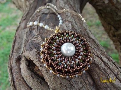 DIY TUTORIAL: ciondolo con perline Twin o Superduo. Pendant with Twin or Superduo beads (bead work)