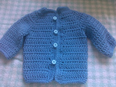Easy to crochet baby cardigan (video 2).  baby sweater  chambrita en crochet
