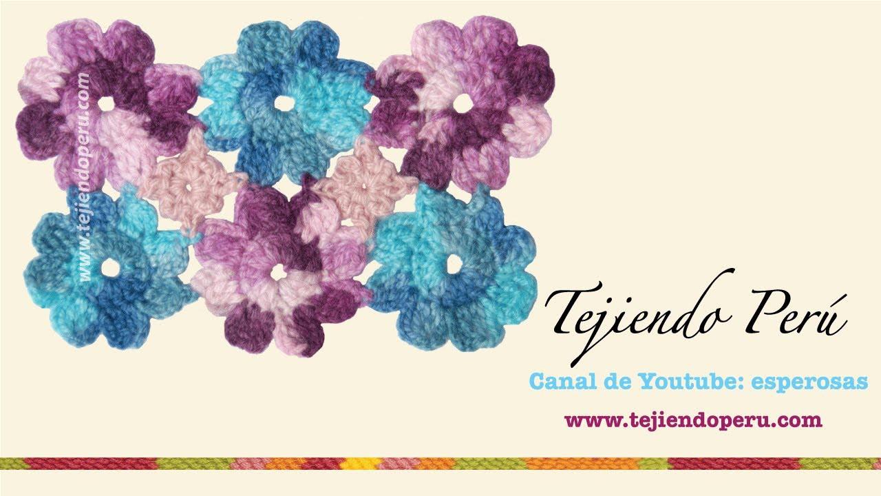 Flores a crochet: uniendo pastillas (en cuadrado o rectangulo)