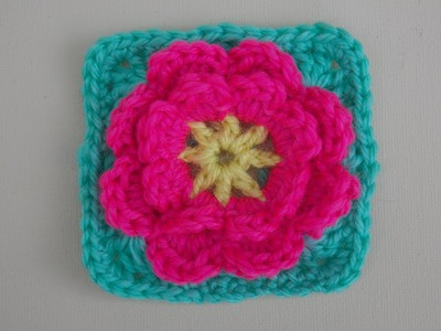 Flower Granny Square Crochet Tutorial - Flower can be made seperately