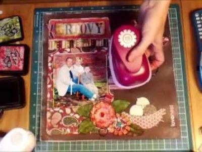 Groovy Scrapbook Page with Homemade Flowers & Butterflies by wendybaisden.blogspot.com