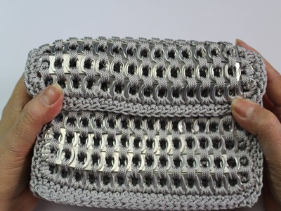 How to crochet soda tab clutch purse (video 2) Subtitulos en espanol