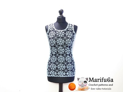 How to crochet summer top tunic free pattern tutorial for beginners туника túnica tunique