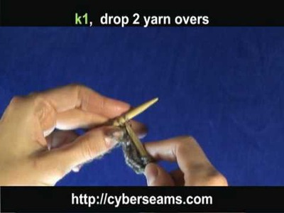 How to Knit: Scarf Pattern - k1, yo twice, & Drop Yarn Over