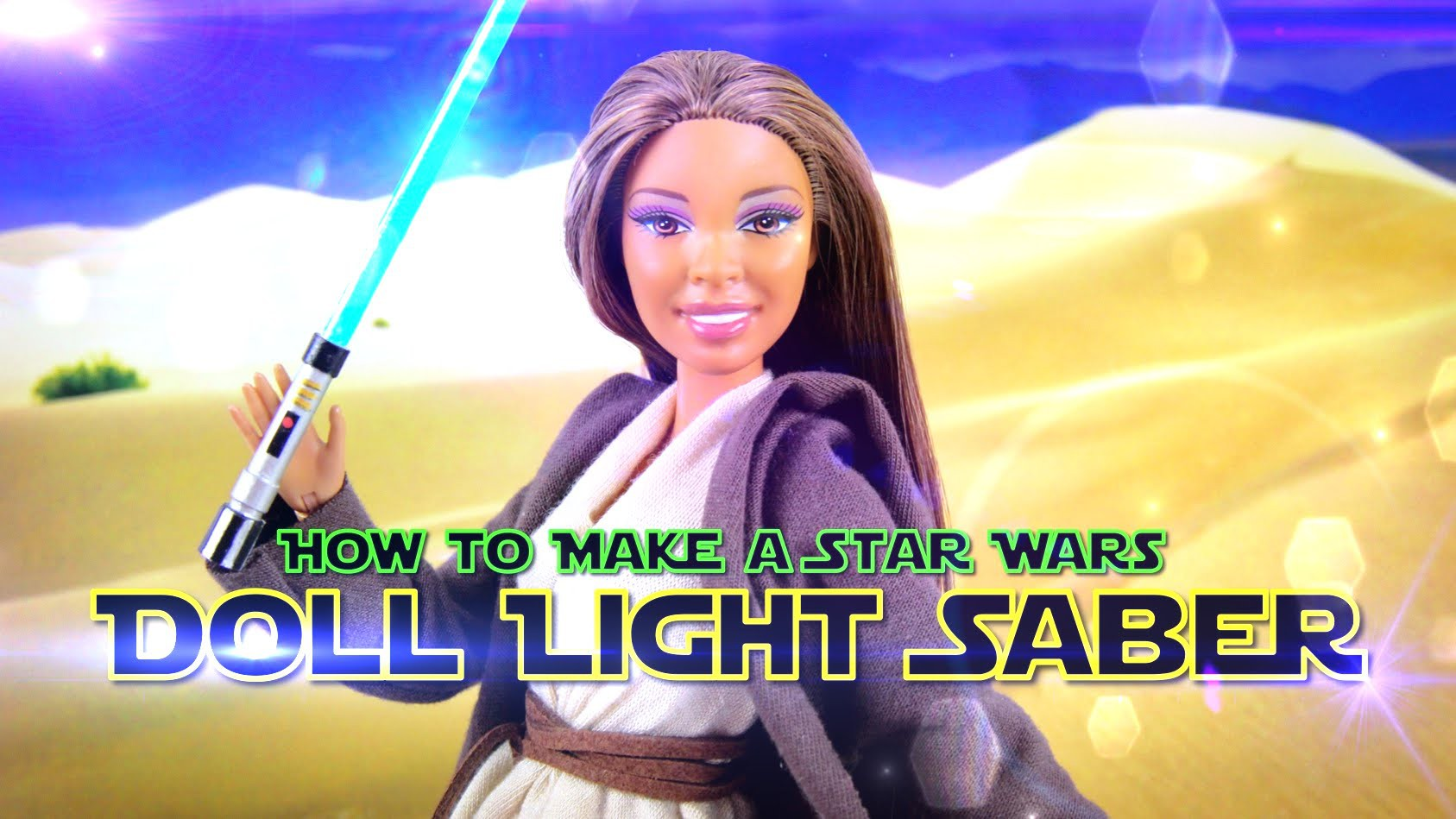 How to Make a Doll Costume: Star Wars Jedi | plus Lightsaber - Doll Crafts