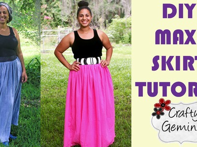 How to Make a Maxi Skirt- DIY Tutorial- NO ELASTIC waistband
